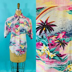 "Vintage 1980s Hawaiian Pink Palm Tree Top | B 40"""